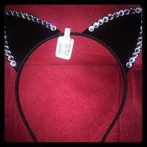Other - Black Rhinestone Cat Ears headband NWT
